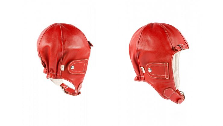 Chapal Leather Driver's Helmet Red