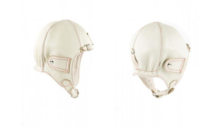 Chapal Leather Driver's Helmet White
