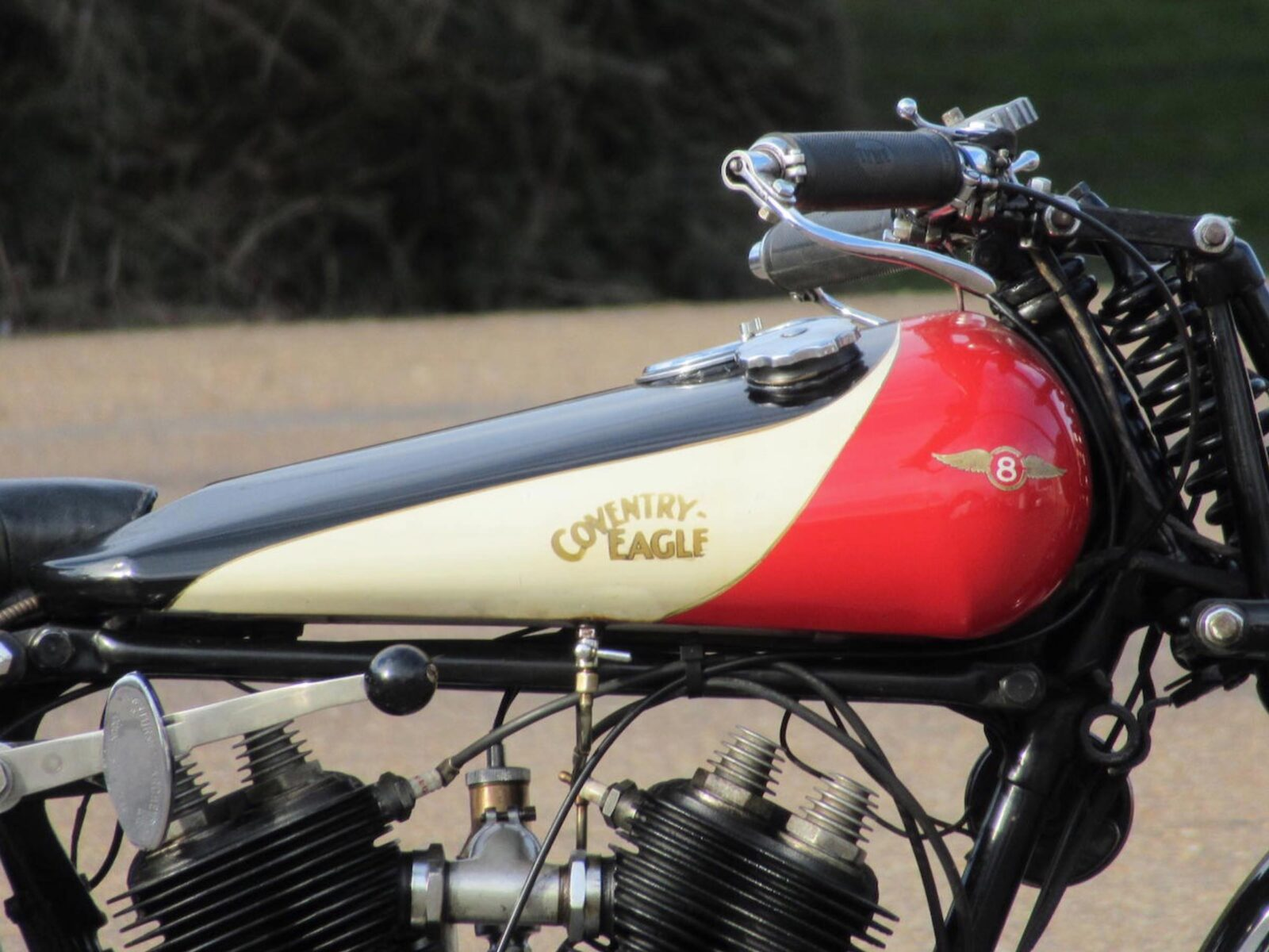 Coventry Eagle Flying 8 Motorcycle Fuel Tank 1600x1200 - An Early High-Speed Police Pursuit Motorcycle - The Coventry-Eagle Flying-8