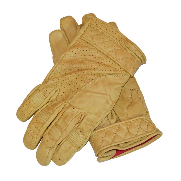 Goldtop Short Bobber Motorcycle Gloves Tan