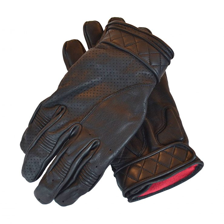 Goldtop Short Bobber Motorcycle Gloves Black