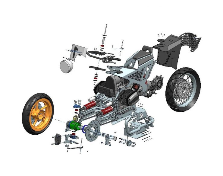 Watkins M001 Custom BMW R1150 RT Motorcycle Exploded View