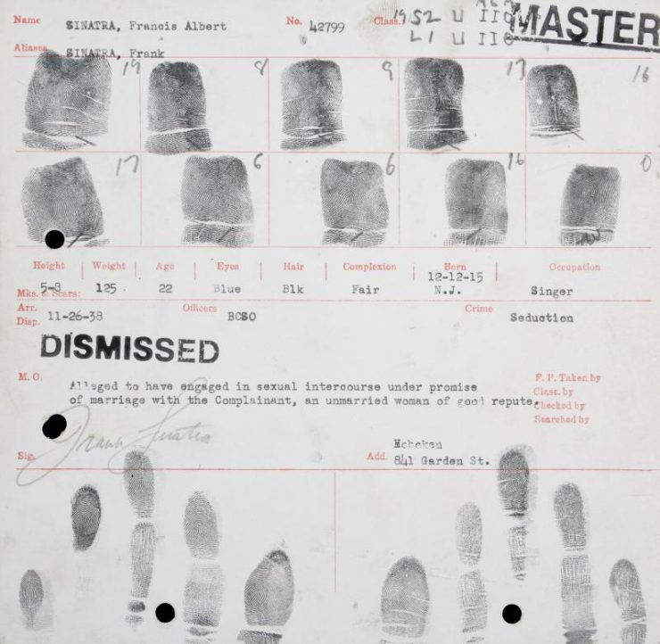Frank Sinatra's Arrest Fingerprint Records