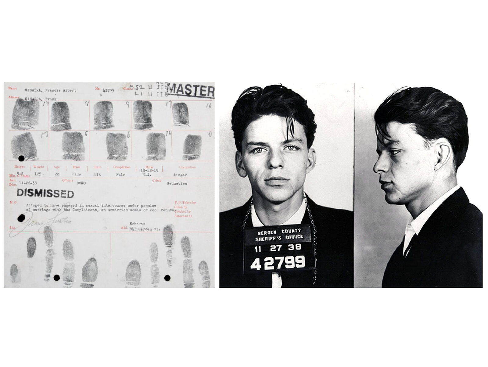 Frank Sinatra's Arrest Fingerprint Records And Mugshot