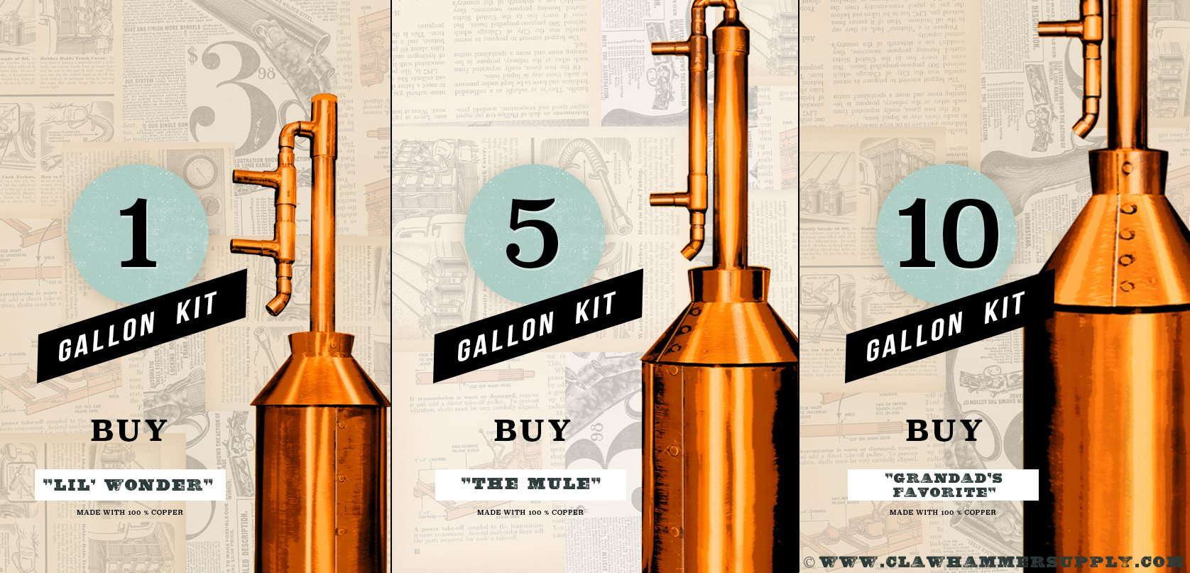 1 Gallon Copper Moonshine Still Kit by Clawhammer Supply