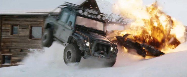 "James Bond Spectre Land Rover Defender SVX Action 740x306 - The James Bond ""Spectre"" Land Rover Defender SVX"