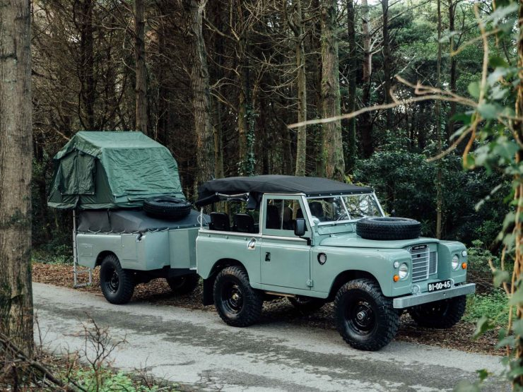 Land Rover Series III with custom trailer