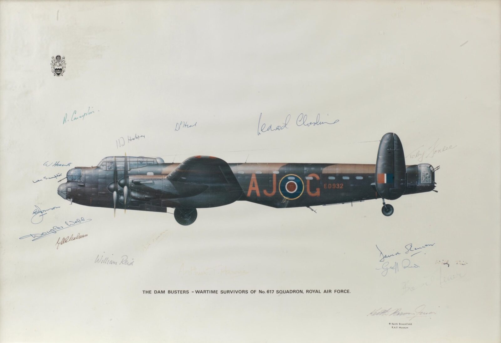 Original Dambusters Print Signed By Members Of The 617 Squadron