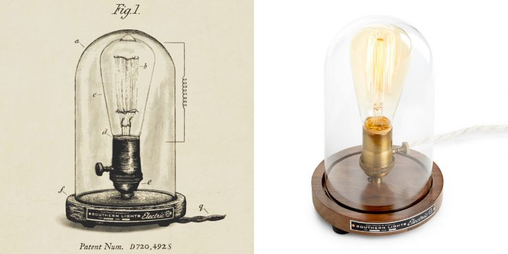 Southern Lights Electric Original Bell Jar Table Lamp Patent Drawing