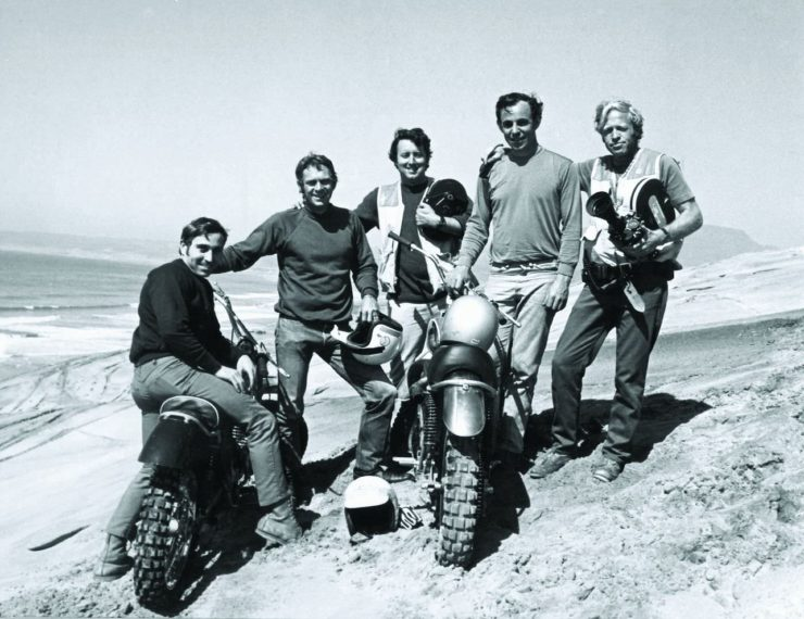 From left, rider Mert Lawwill, actor Steve McQueen, cameraman Bob Bagley, Malcolm Smith and producer Bruce Brown.