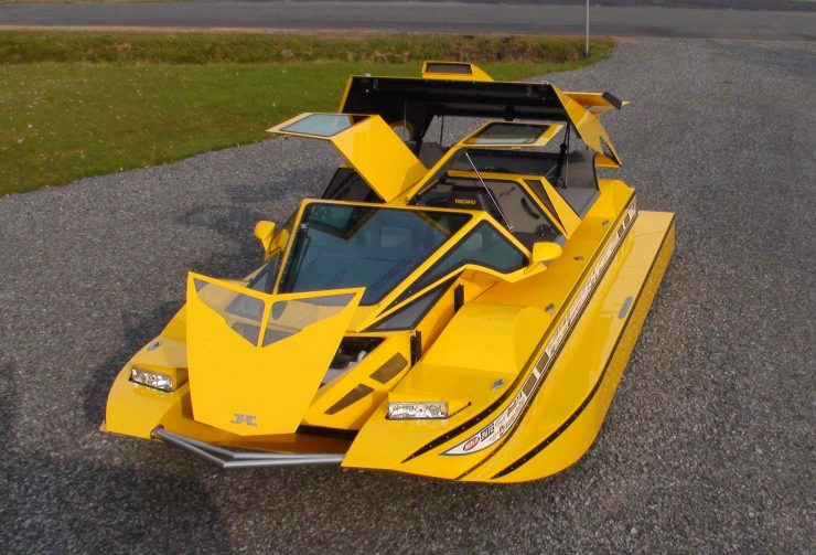 Amphibious Hydrocar Open 740x503 - The Amphibious Dobbertin HydroCar - A $1 Million Dollar 762 HP Boat/Car Hybrid
