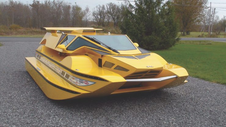Amphibious Hydrocar Water Mode 740x416 - The Amphibious Dobbertin HydroCar - A $1 Million Dollar 762 HP Boat/Car Hybrid
