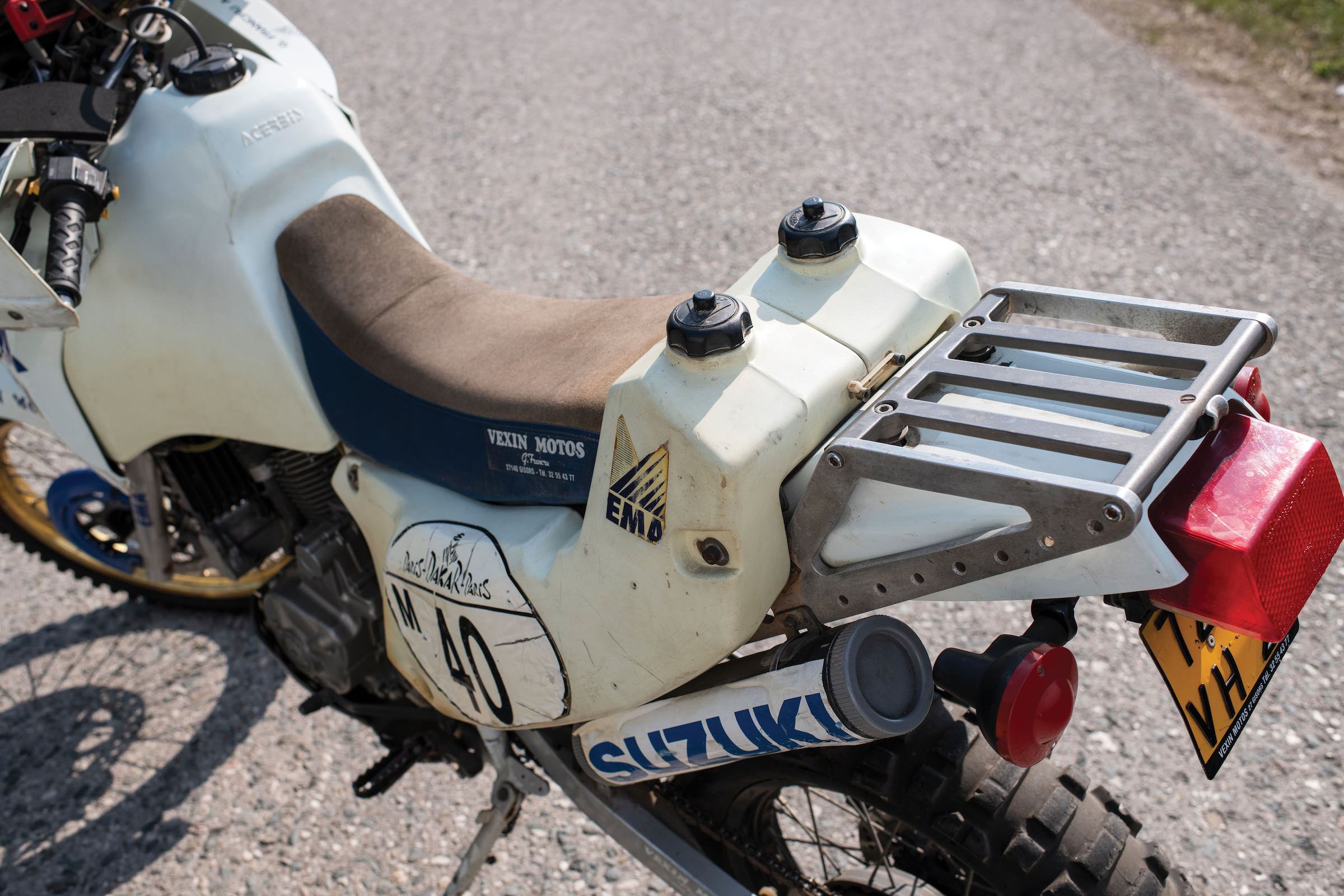 period paris dakar rally competitor the gilles francru suzuki dr650