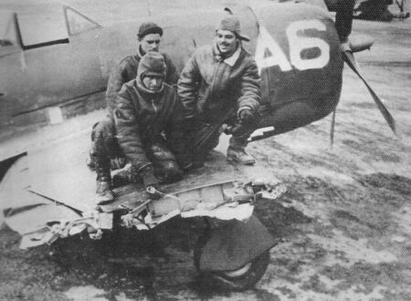 Brazilian P-47 after impact with chimney; the pilot managed to land safely
