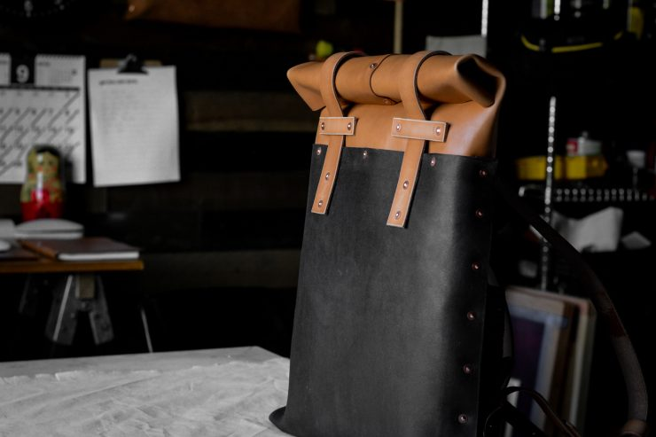 Small Batch Supply Co. Leather Roll Top Backpack 4