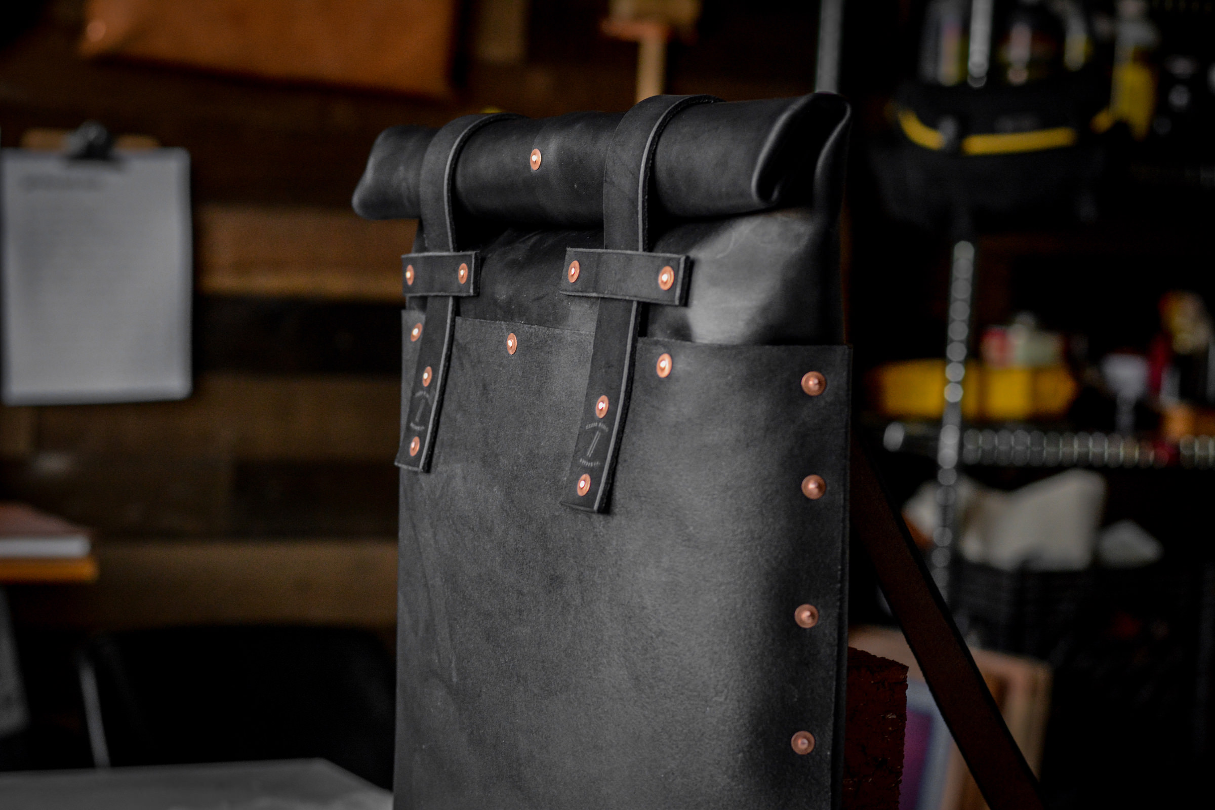 Small Batch Supply Co. Leather Roll Top Backpack 5