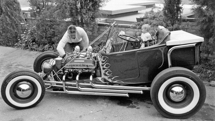 "Norm Grabowski with ""Kookie"" Ford T-bucket hot rod"