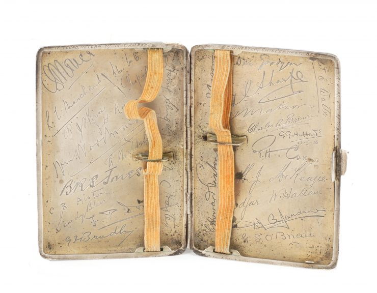 Captain Malcolm Campbell's WWI Silver Cigarette Case Inside