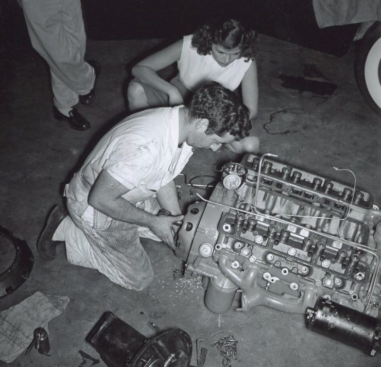 Max and Ina Balchowsky working on an engine