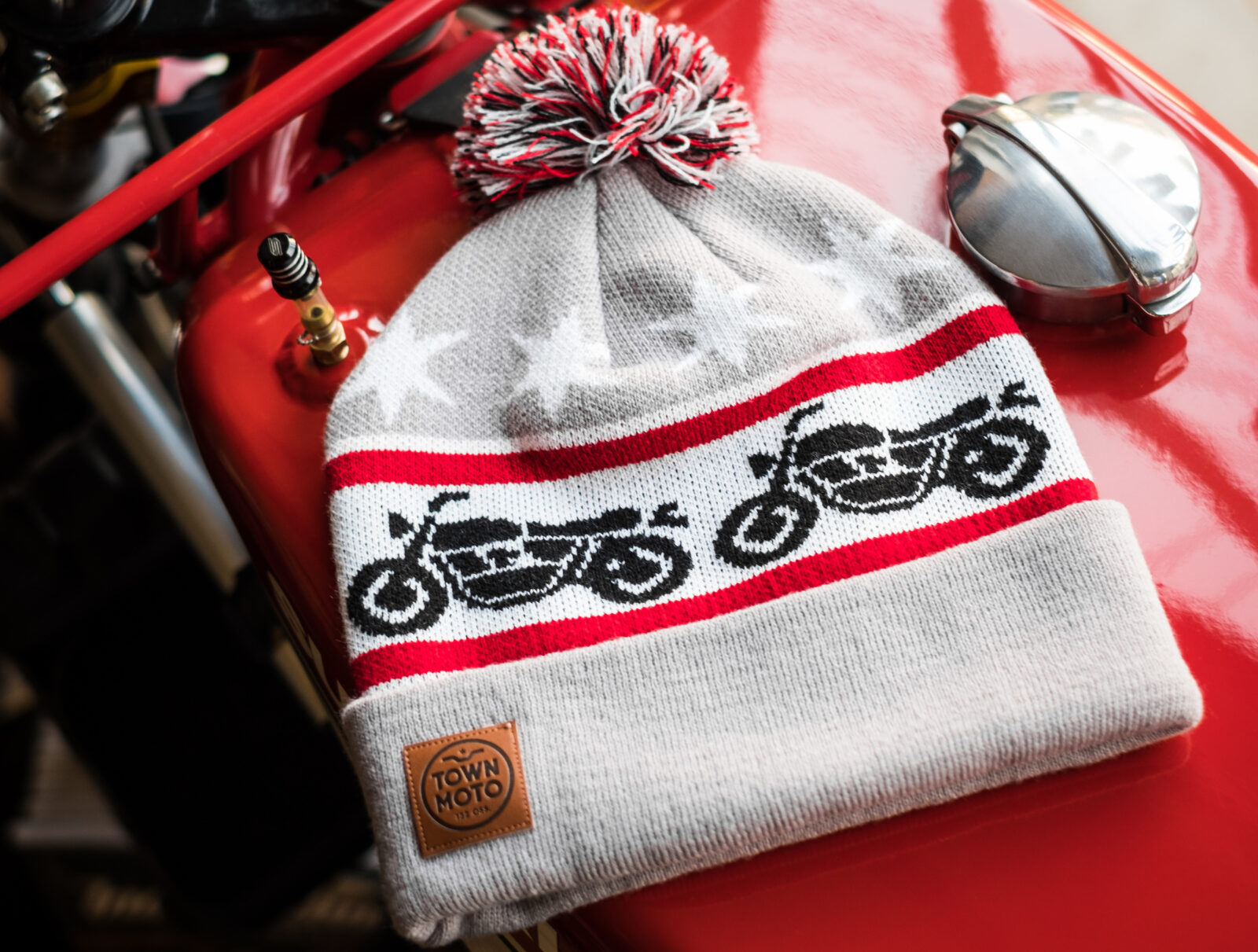 Town Moto Motorcycle Knit Beanie Main