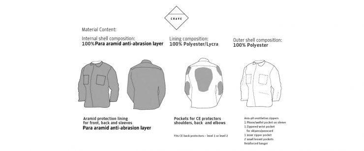 Crave Kevlar Motorcycle Shirt Details