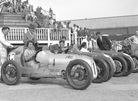 The Austin 7 works team at Brooklands in 1937
