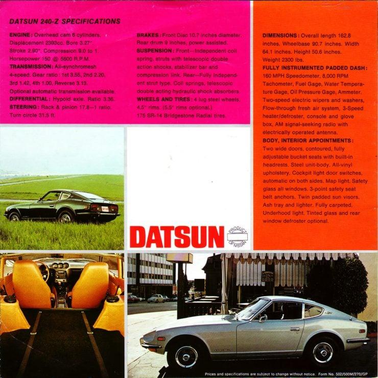 Datsun 240Z Brochure 2