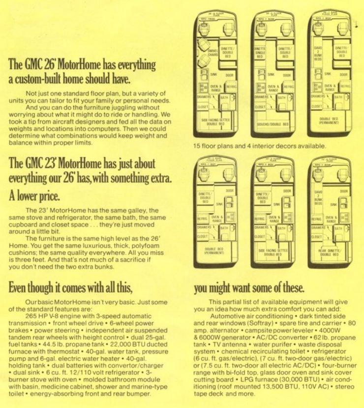 GMC Motorhome floor plans advertisement