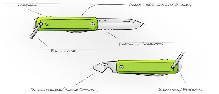 The James Brand Ellis Folding Knife Sketch
