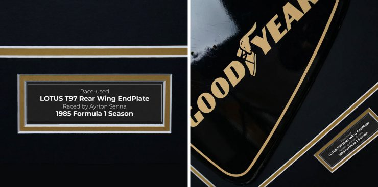 Ayrton Senna 1985 Lotus 97T Rear Wing Endplate Caption