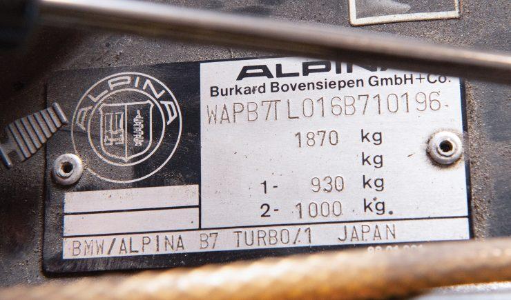 BMW Alpina B7 Turbo VIN