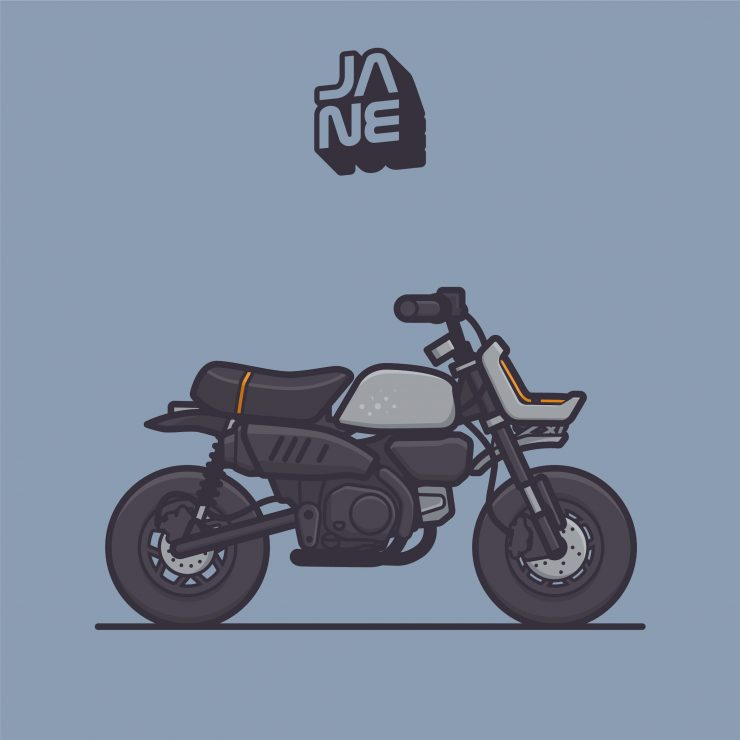 VIBA Jane – A Honda Monkey Custom Graphic