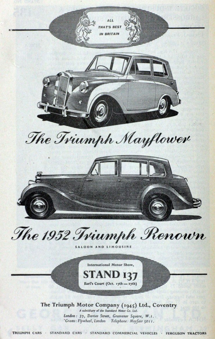 Triumph Renown Mayflower advertisement