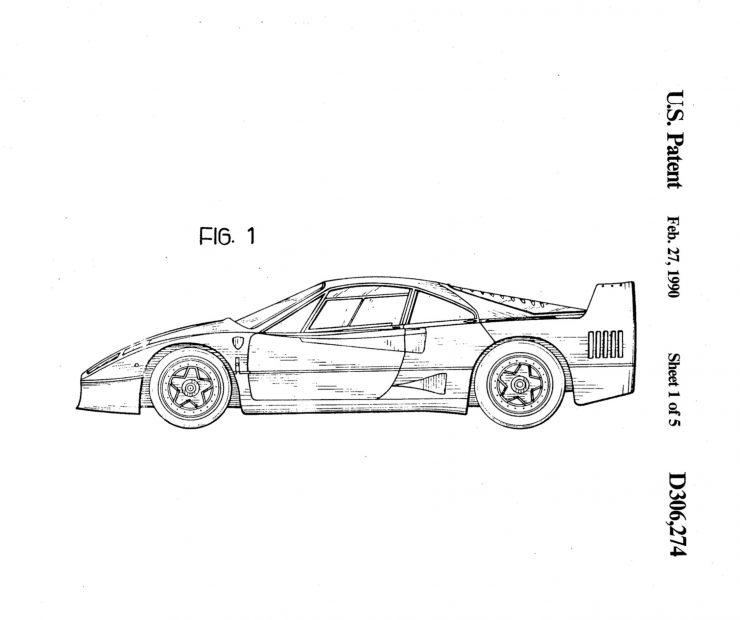 Ferrari F40 Patent Drawing 1