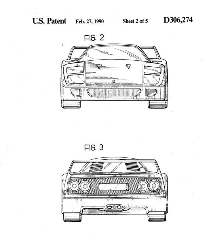 Ferrari F40 Patent Drawing 2 - 3