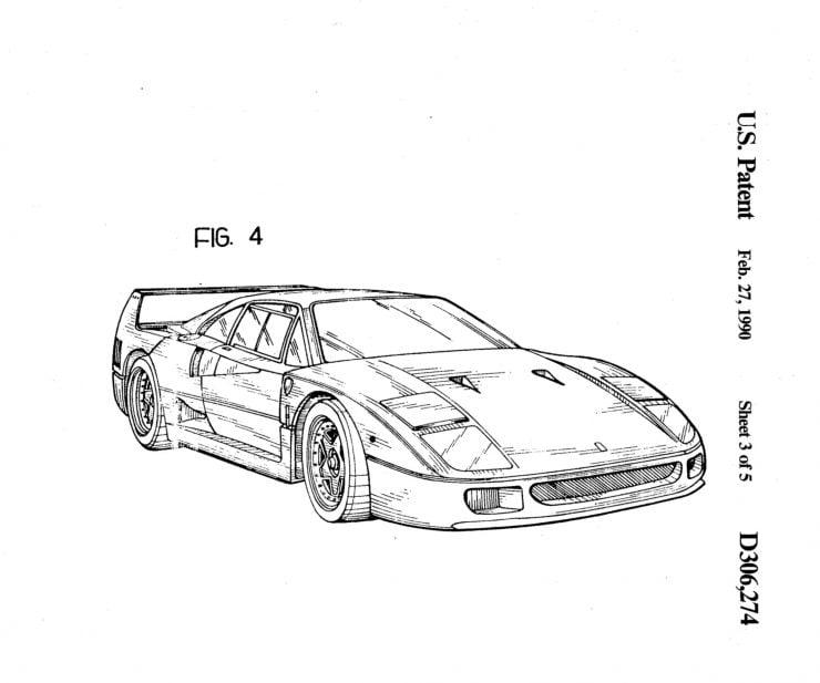 Ferrari F40 Patent Drawing 4
