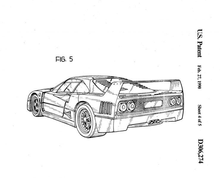 Ferrari F40 Patent Drawing 5