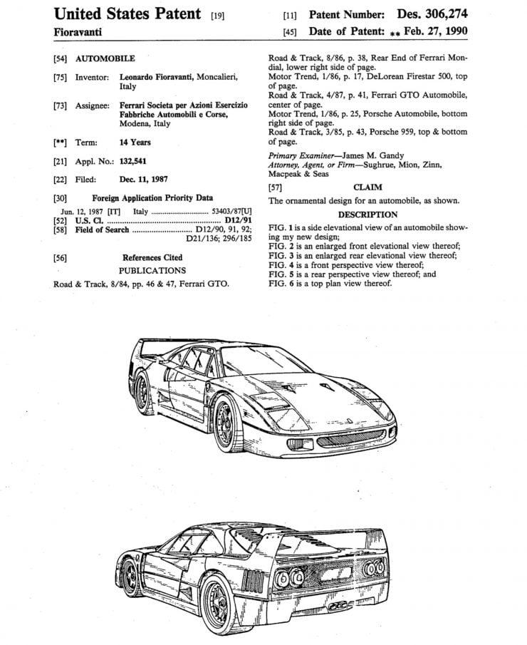 Ferrari F40 Patent Drawing