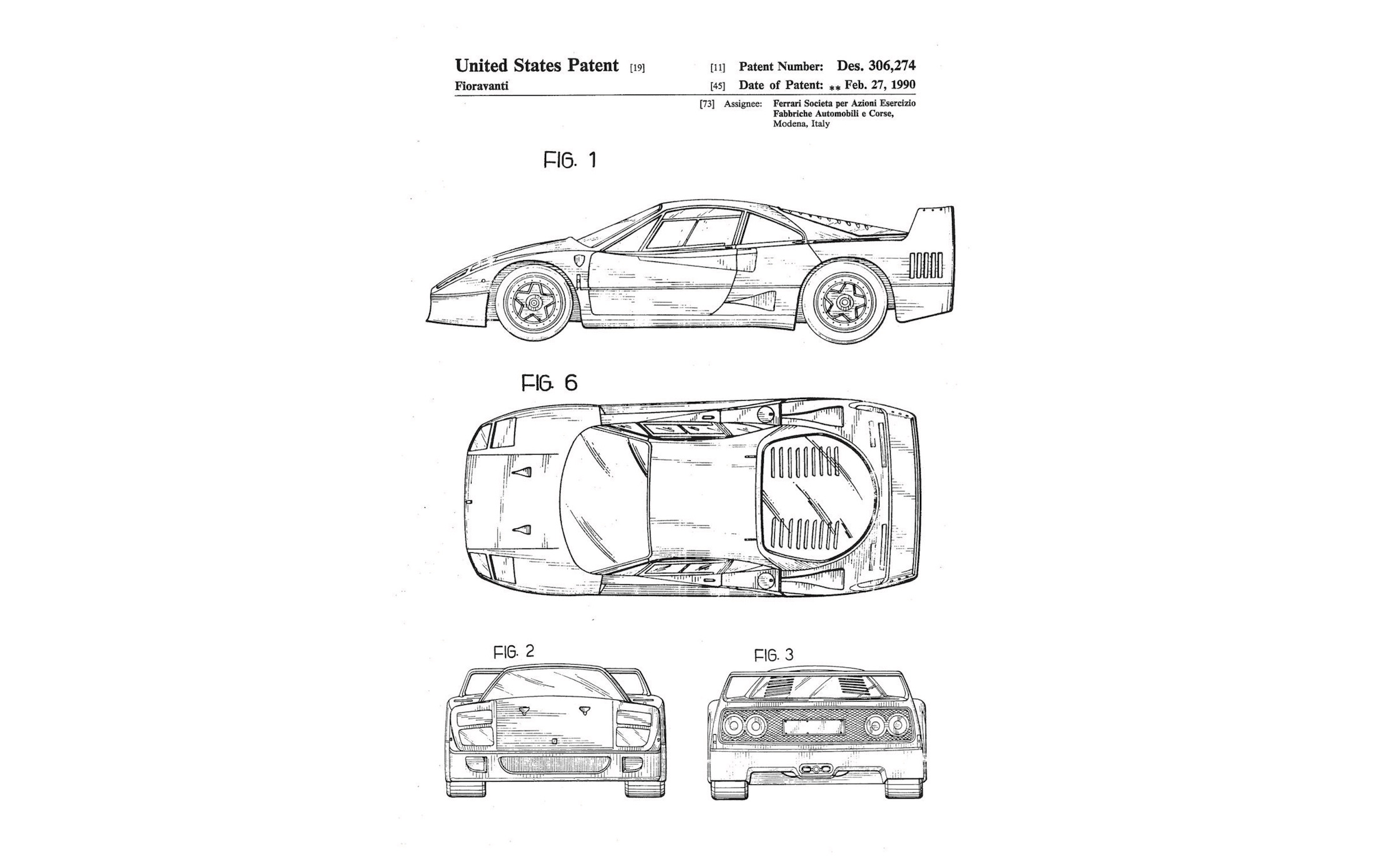 The Original Ferrari F40 Patent Drawings