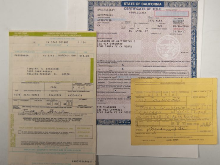Muhammad Ali Alfa Romeo Spider Veloce Series II Registration