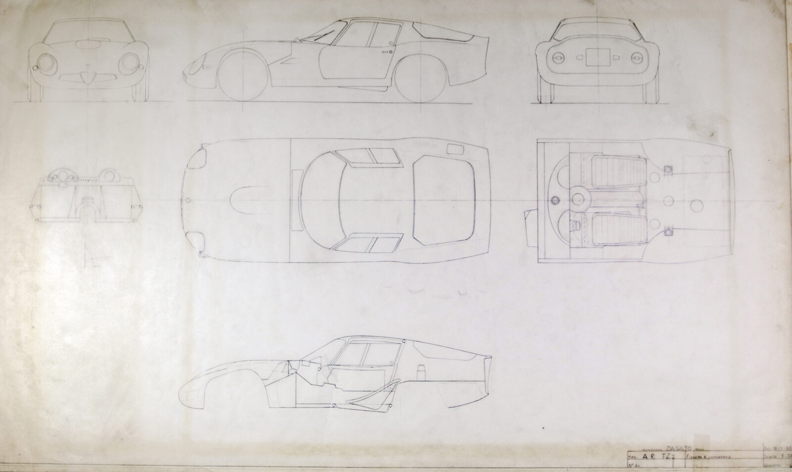 Blueprints of the Alfa Romeo Giulia Tubolare Zagato