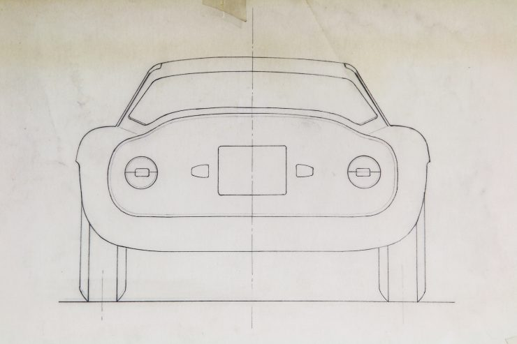 Blueprints of the Alfa Romeo Giulia Tubolare Zagato Back