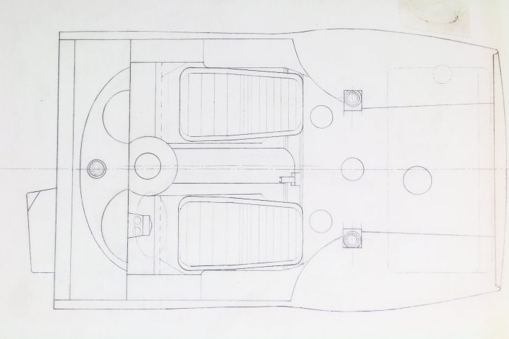 Blueprints of the Alfa Romeo Giulia Tubolare Zagato Cockpit