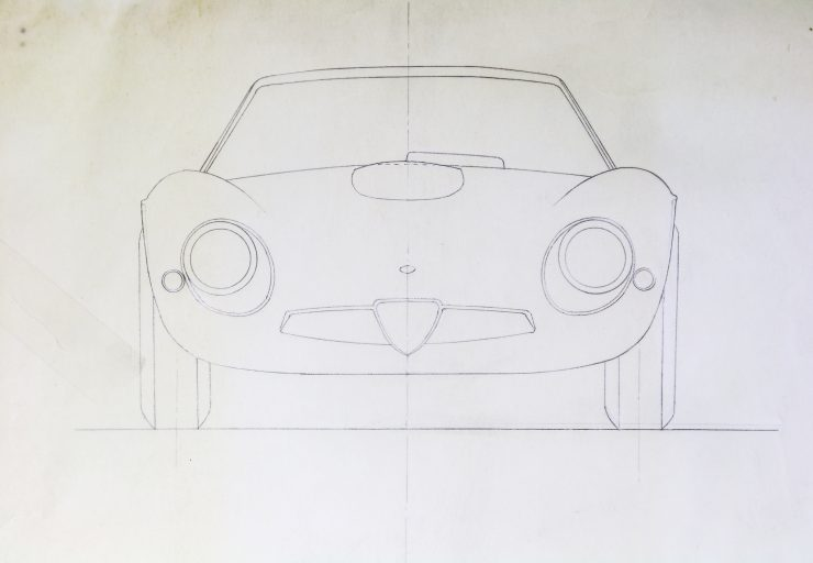 Blueprints of the Alfa Romeo Giulia Tubolare Zagato Front