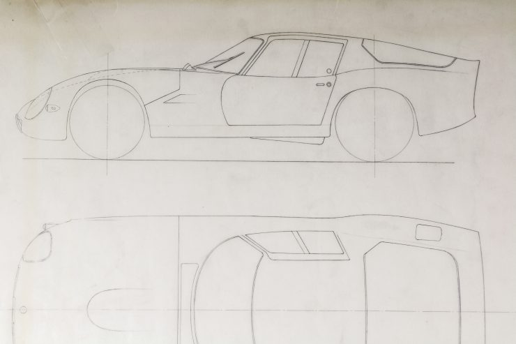 Blueprints of the Alfa Romeo Giulia Tubolare Zagato Side