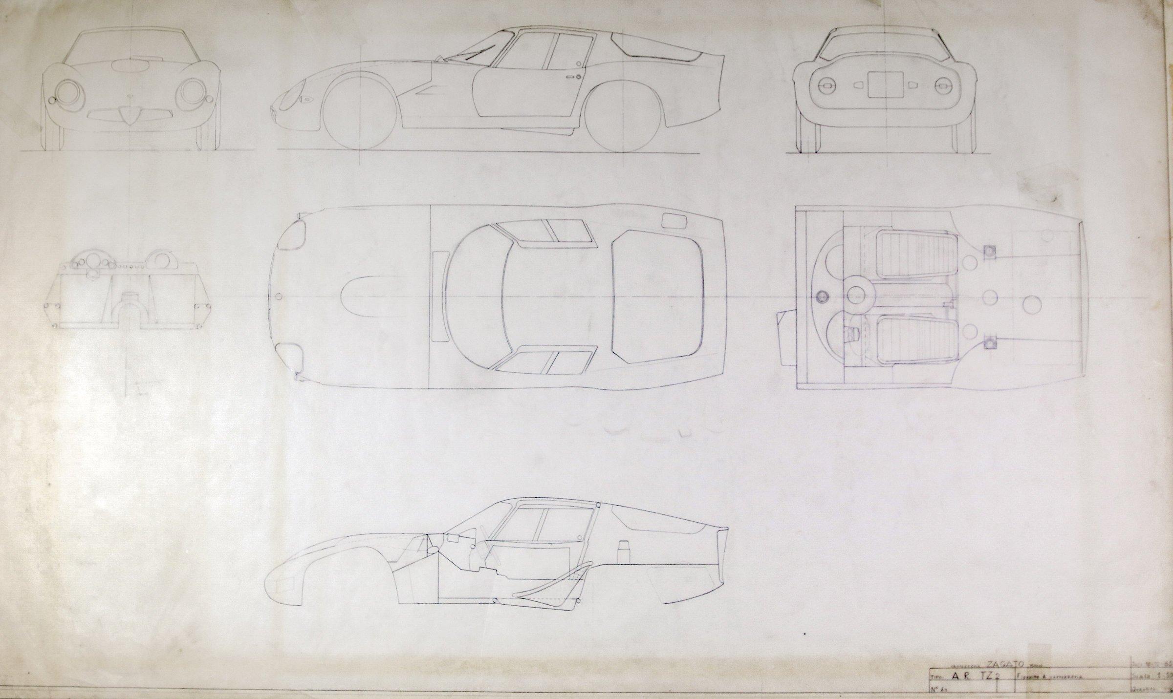 Blueprints of the Alfa Romeo Giulia Tubolare Zagato