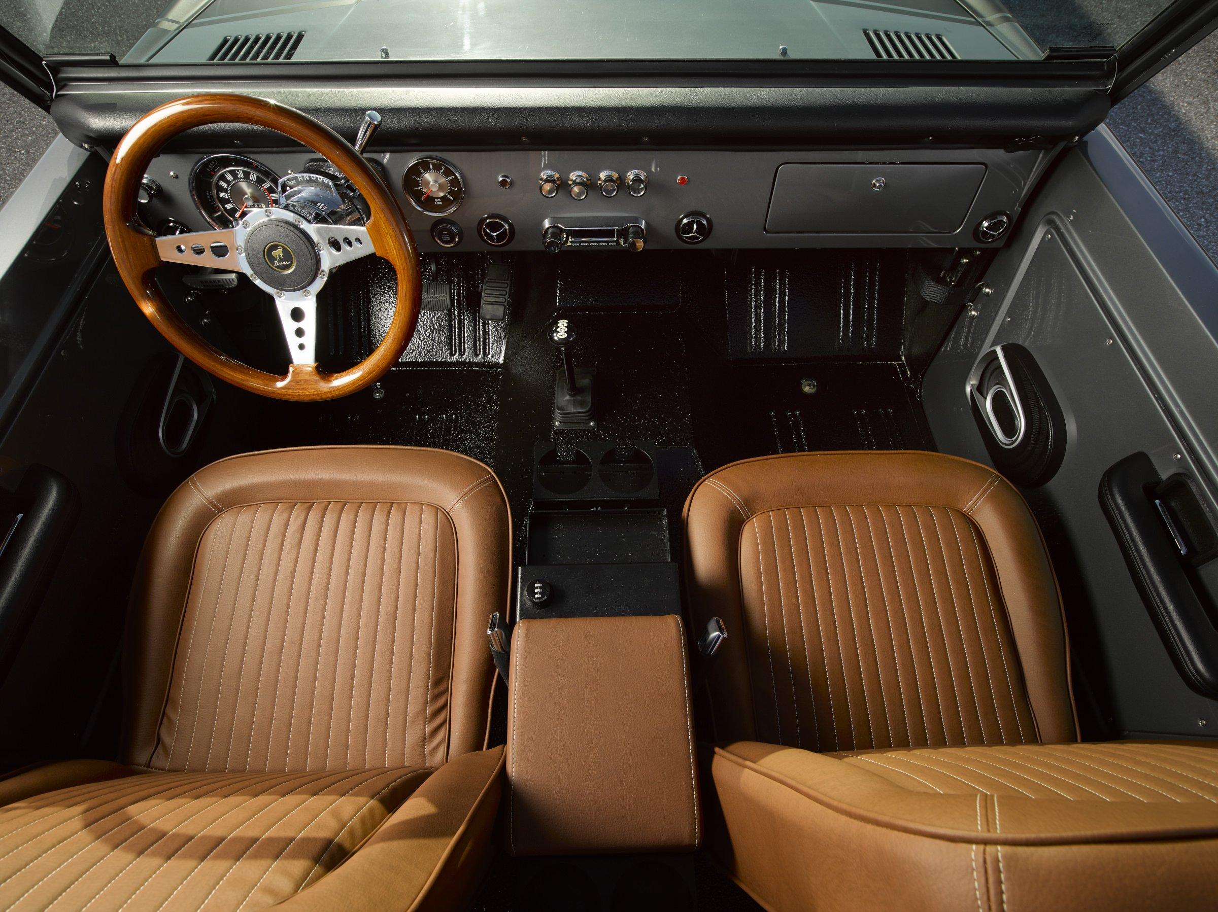 bronco ford restomod interior 1969 seats doors coyote hp engine shown