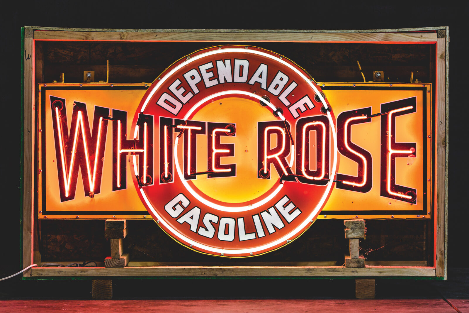 White Rose Dependable Gasoline Neon Sign