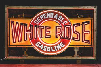 White Rose Dependable Gasoline Neon Sign