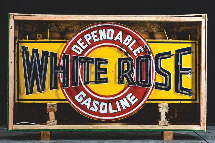 White Rose Dependable Gasoline Neon Sign Turned Off